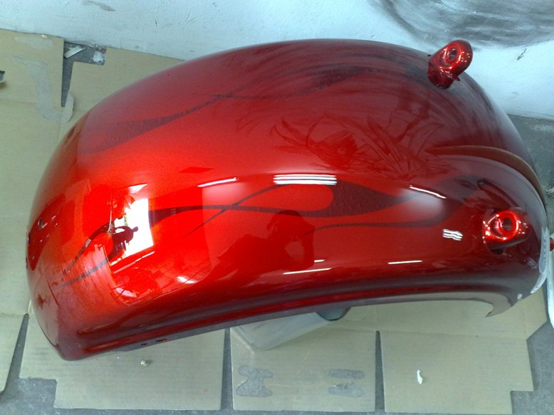 Candy Red With Flames Harley Rocker C Aire Pro Designs